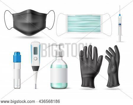 Realistic Virus Protective. Health Cares Medicine Tools. Antibacterial Agents. Disease Diagnosis Tes