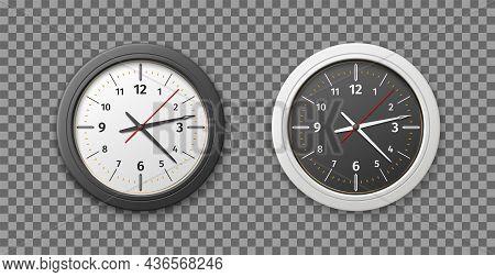 Realistic Clock. Wall Round Watches. Black And White Design Versions. Quartz Analog 3d Timepiece. Va