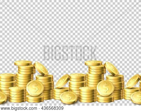 Seamless Gold Coins Columns. Realistic Money Seamless Border. Stacked Dollar Cents. Piles Shiny Coin