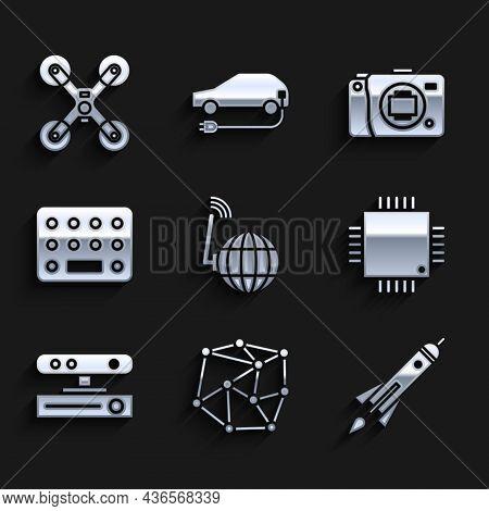 Set Social Network, Neural, Rocket Ship With Fire, Processor Microcircuits Cpu, Motion Sensor, Pills