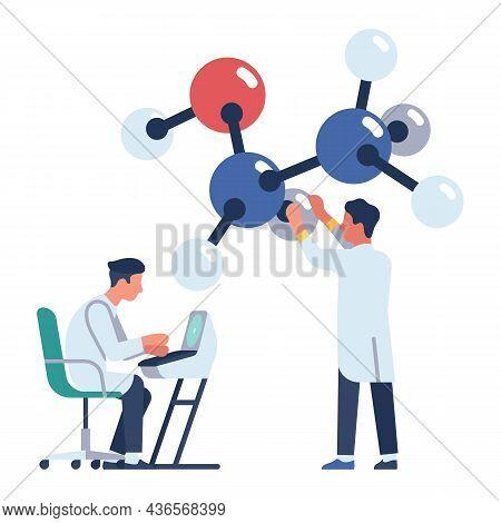 Scientists Work In Laboratory. Chemist Experience. Researchers Explore Molecule Structure. Biotechno