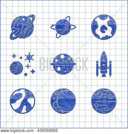 Set Planet Saturn, Moon, Mars, Space Shuttle And Rockets, Planet, Earth Globe And Icon. Vector