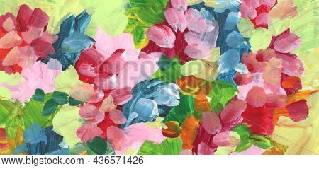 Art Abstract color acrylic and watercolor smear brushstroke interior painting. Canvas texture horizontal background.