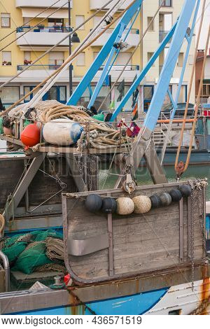 Round Buoys On A Fischer Boat As Fender And Ram Protection
