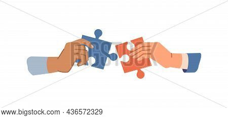 Business Hands Holding Up Jigsaw Puzzle Pieces As Solution To Problem, People Collaborate In Team Fl