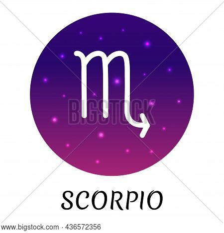 Zodiac Sign Scorpio Isolated. Vector Icon. Zodiac Symbol With Starry Gradient Design. Astrological E