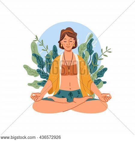 Yoga Meditation, Woman Sits In Lotus Pose Meditating. Vector Happy Person On Meditation, Balance And