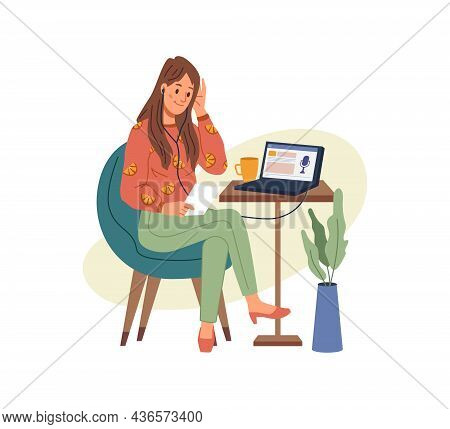 Working Or Studying At Home Or Office, Woman Sitting On Chair And Listening Podcast On Laptop. Vecto