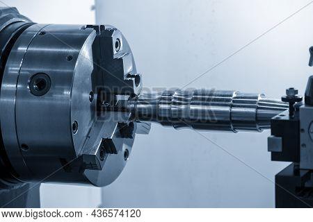 The Turning Machine  Chucking The Metal Shaft Parts. The Metalworking Process By Turning Machine.