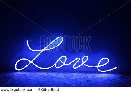 Blue Neon Sign Love. Trendy Style. Neon Sign. Custom Neon. Home Decor.