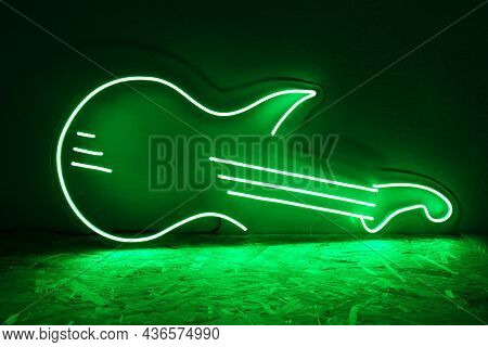 Green Neon Sign Guitar. Trendy Style. Neon Sign. Custom Neon. Music Vibe.