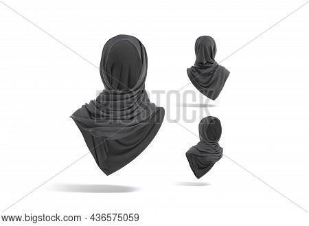 Blank Black Woman Muslim Hijab Mock Up, Different Views, 3d Rendering. Empty Cotton Traditional Khim