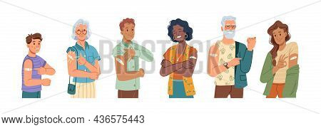 Happy Vaccinated People Showing Ok And Thumb Up Gesture, Flat Cartoon Characters Set. Vector Young A