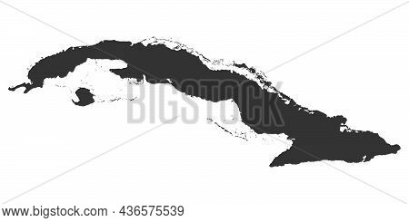 Cuba Blank Map Graphic Icon. Cuba Map Sign Isolated On White Background. High Detail. Vector Illustr