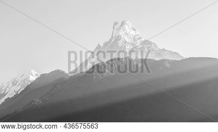 Black And White View Of Mount Machapuchare From Nepali Meaning Fishtail Mountain, Annapurna Conserva