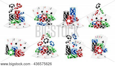 Casino Set, Falling Chips And Flying Cards, Heaps And Stacks Isolated Realistic 3d Icons. Vector Gam