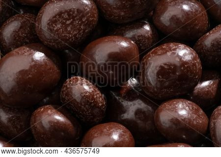 Detailed And Large Close Up Shot Of Chocolate Covered Coffee Beans