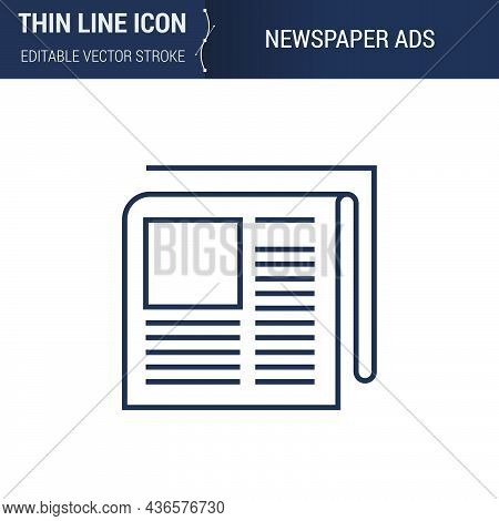 Symbol Of Newspaper Thin Line Icon Of Advertising Media. Stroke Pictogram Graphic Suitable For Infog