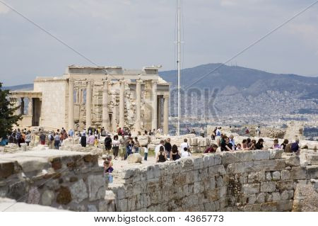 Acropolis With Tourists