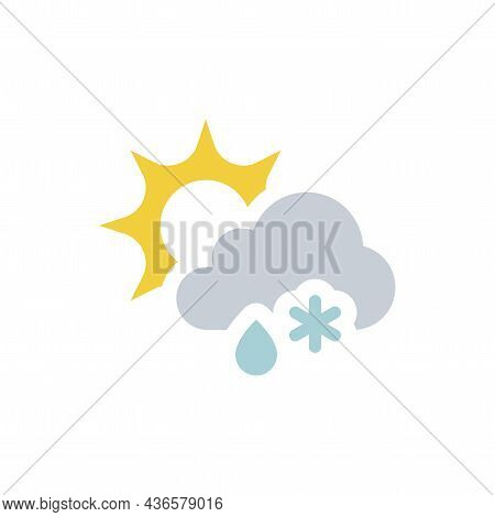 Sun With Cloud Snow And Rain Vector Icon. Colorful Forecast And Weather Symbol.