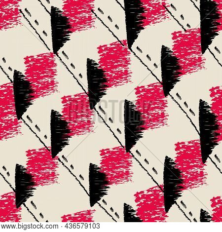 Vector Black Red Blots White Ivory Repeat Pattern