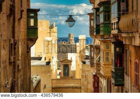 Beautiful architecture of the Valletta city, capital of Malta