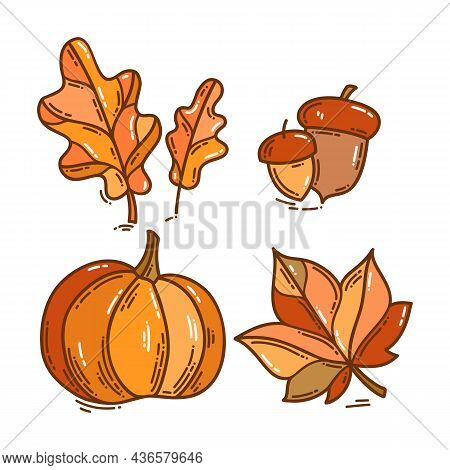 Set Of Color Autumn Doodle Style Icons