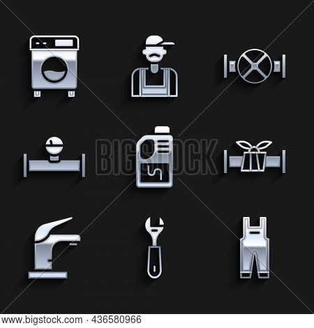 Set Drain Cleaner Bottle, Wrench Spanner, Work Overalls, Industry Metallic Pipe, Water Tap, And Mano