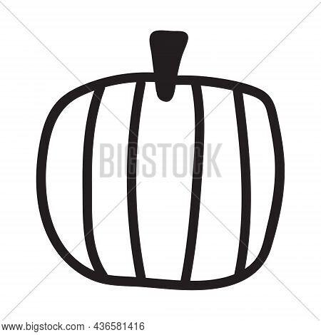 Pumpkin Black And White Icon. Doodle Pumpkin Sketch. Vector Illustration Of Vegetable Outline.