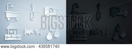 Set Broken Pipe, Plumber Service Car, Water Supply Pipes, Drop, Screwdriver And Bathtub Icon. Vector