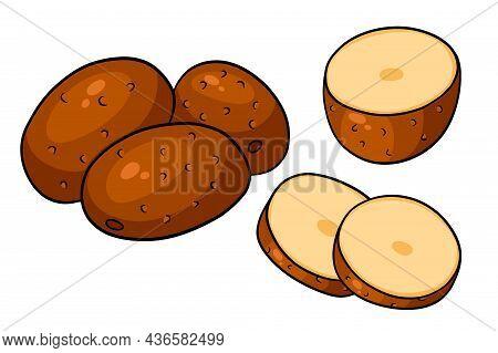 Set Of Potatoes. Whole Potatoes, Cut Into Wedges, Half.