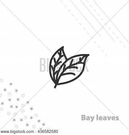 Bay Leaves Isolated Line Icon For Web And Mobile