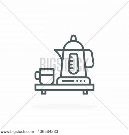 Kettle Electric Icon. Editable Stroke And Pixel Perfect. Outline Style. Vector Illustration. Enjoy T