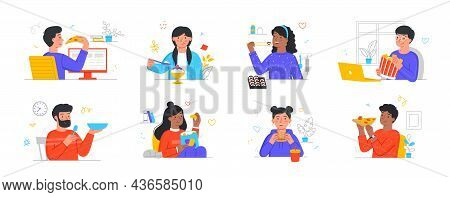 Set Of People Eating Food At Home. Men And Women Relax And Eat Pizza, Burgers, Ice Cream, Chicken Or