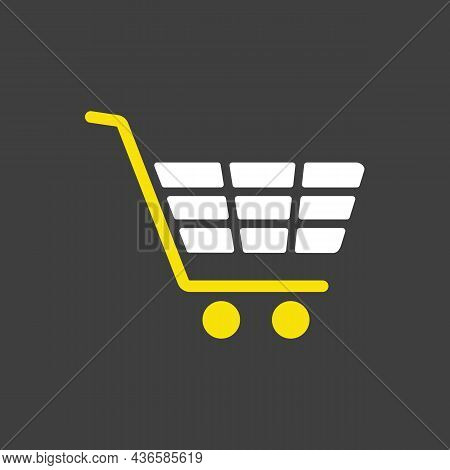 Shopping Mall Cart Isolated Vector Glyph Icon. E-commerce Sign. Graph Symbol For Your Web Site Desig