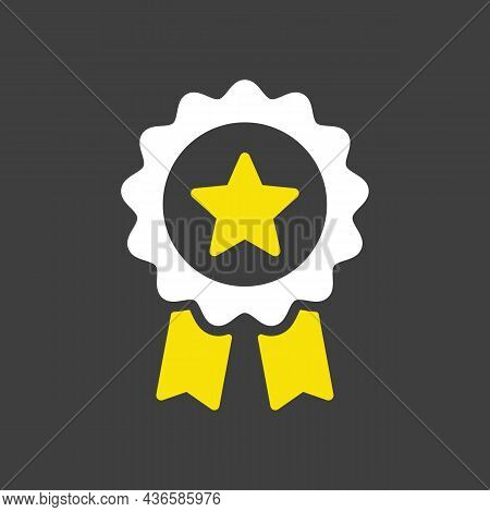 Ribbon Award Best Seller Glyph Icon. Bestseller Tag Sale Label, Badge, Medal, Guarantee Quality Prod