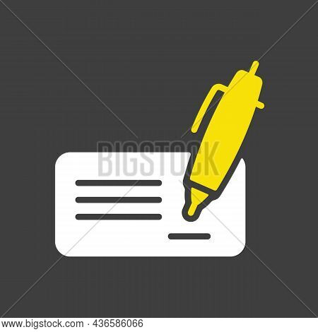 Blank Bank Check With Pen And Signature Glyph Icon. E-commerce Sign. Graph Symbol For Your Web Site