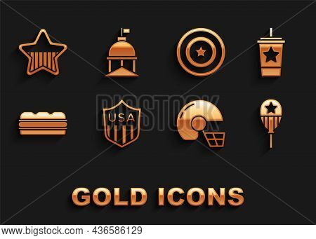Set Shield With Stars, Paper Glass Straw, Balloons, American Football Helmet, Sandwich, Shield, Usa