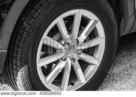 Zadar, Croatia - July 29, 2021: Audi Car Wheel Close Up In Zadar, Croatia.