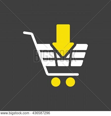 Shopping Cart With An Arrow Glyph Icon. E-commerce Sign. Graph Symbol For Your Web Site Design, Logo