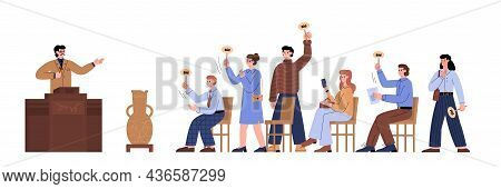 Auction Bids With Auctioneer And Buyers, Flat Vector Illustration Isolated.