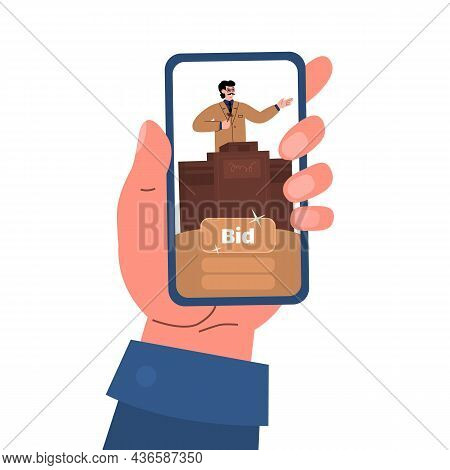 Buy At Online Auction Concept Vector Illustration