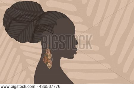 Face Silhouette Of Ethnic African Woman In Profile With Earring Made Of Leaf Shapes. Grunge Textured