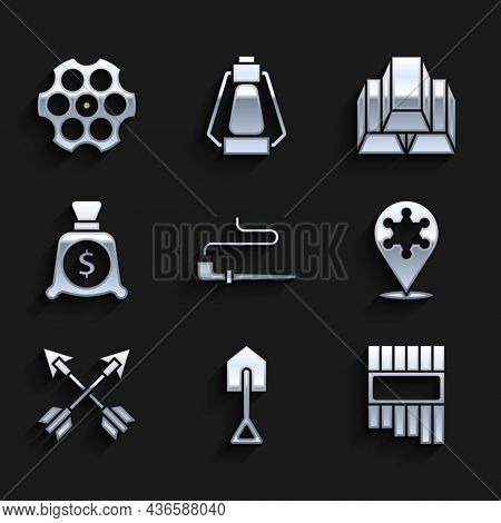 Set Smoking Pipe, Shovel, Pan Flute, Hexagram Sheriff, Crossed Arrows, Money Bag, Gold Bars And Revo