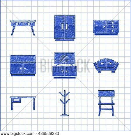 Set Tv Table Stand, Coat, Chair, Sofa, Office Desk, Wardrobe, Chest Drawers And Icon. Vector