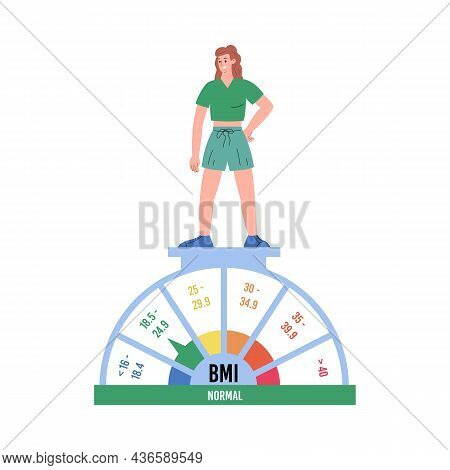 Slim Woman On Scale With Bmi Indicator, Flat Vector Illustration Isolated.