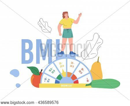Plump Woman Standing On Scales In Flat Vector Illustration Isolated On White