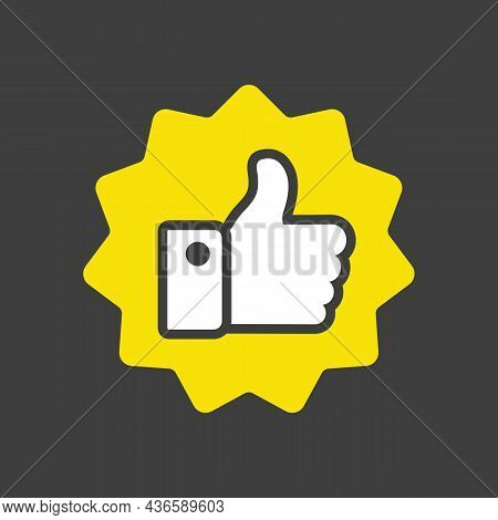 Thumbs Up Glyph Icon. Vector Like. E-commerce Sign. Graph Symbol For Your Web Site Design, Logo, App