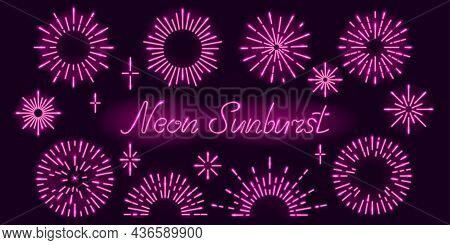 Set Of Neon Sunburst Or Starburst Design Elements On Dark Purple Background. Explosions Of Radial Gl