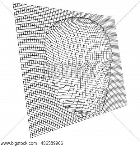 Vector Wireframe Grid And Human Face Protruding Through It